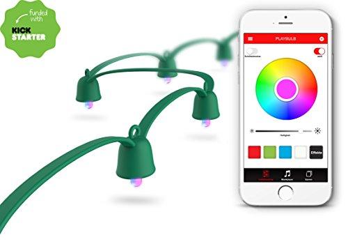 MiPow Playbulb String - LED Lichterkette Weihnachtsbeleuchtung, Baum-Lichterkette, bunt, app gesteuert, Smart Home 40 LEDs bunt (10m Basis-Set, grün)