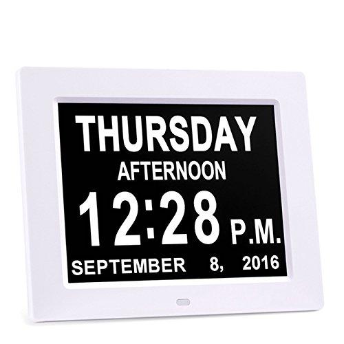 Preisvergleich Produktbild HzxlT Extra Große 8Inch Nicht-abgekürzt Day & Month Digital Kalender Wecker mit 5 Alarm beeinträchtigt Vision und Senioren Tischuhren - Weiß