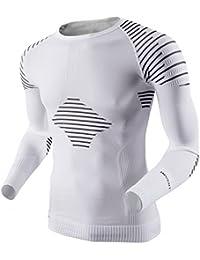 X-Bionic Man Invent UW - Camisa técnica para hombre, color blanco / negro, talla XL