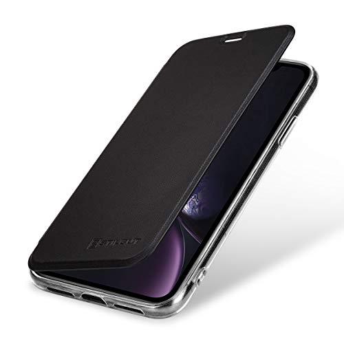 StilGut Hülle kompatibel mit iPhone XR aus Leder und durchsichtiges TPU mit NFC/RFID Blocker. Schwarz/transparent