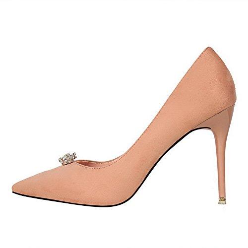 Mattglasbirne Pumps Pink Ziehen Auf Stiletto Aalardom Schuhe Spitz Damen Zehe 41Ax7R