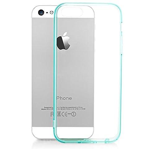 iPhone SE 5 5S Coque Silicone de NICA, Ultra-Fine Housse Transparente avec Contour de Protection Cover Slim Etui, Mince Telephone Portable Gel Bumper Case pour Apple iPhone 5 5S SE - Turquoise