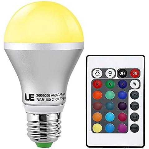 LE Bombilla RGB 5W Regulable 16 colores Mando a distancia incluido E27 A60