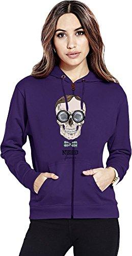 Forever Womens Zip Hoodie (Nerd skull Womens Zipper Hoodie X-Large)