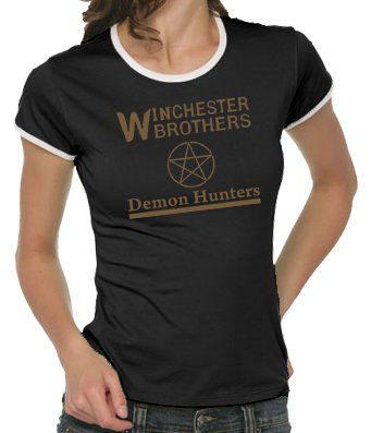 Touchlines Supernatural T-shirt pour femme Motif Demon Hunter multicolore - Noir/Or