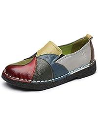 Las Mujeres Mocasines Mezclado Colores Cuero Zapatos Mocasines de señoras Ballet Pisos Calzado Casual
