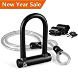 OUTERDO Bike Lock with Cable Mounting Bracket and Keys Cycling U Lock Combination