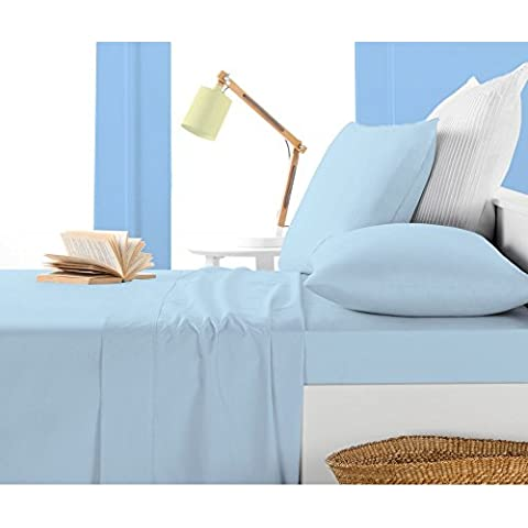 Almohada -4PC 550TC Italian acabado azul color sólido almohada de cuerpo entero Tamaño (32