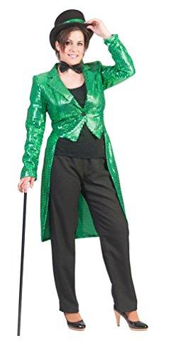 ,Karneval Klamotten' Kostüm Frack Pailletten grün mit Fliege schwarz Show Party Silvester Damenkostüm Größe (Grüne Kostüm Frack)