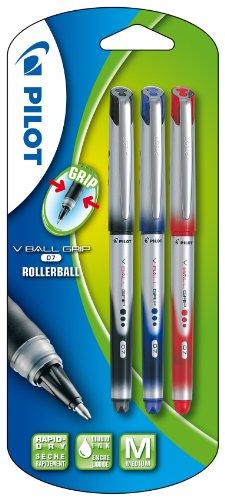Pilot Pen - Penna roller VB7 Grip, punta conica, refill misura Jumbo, impugnatura gommata, confezione da 3 pezzi, nero/blu/rosso