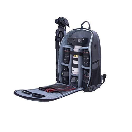Cooralledtooere Hochwertige Faltkamera Computerrucksack, Wasserdichte Digitalkameratasche für den Diebstahlschutz, 15,6-Zoll-Laptoptasche (Farbe : Gray)