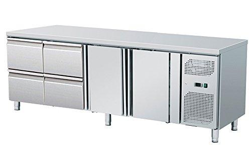 Zorro - Kühltisch mit Füßen ZGN 4140 TN - 2 Türen - 4 Schubladen - Gastro Zubereitungstisch mit Arbeitsfläche - R600A - Digitales Thermostat - Umluftkühlung