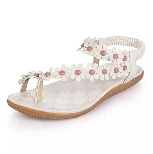 DM&Y 2017 fleurs douces ¨¤ bout clip plat sandales plates confortables ¨¦tudiants boh¨¨me ¨¤ Rome White