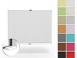 Home-Vision Premium Plissee nach Maß, zum Anschrauben in der Glasleiste Innenrahmen Blickdicht Plissee Jalousie mit Halterungen zum Bohren, Sonnenschutzrollo (Weiß, B71-80cm x H201-230cm)