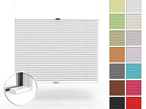 Home-Vision Premium Plissee nach Maß, zum Anschrauben in der Glasleiste Innenrahmen Blickdicht Plissee Jalousie mit Halterungen zum Bohren, Sonnenschutzrollo (Weiß, B71-80cm x H101-150cm)