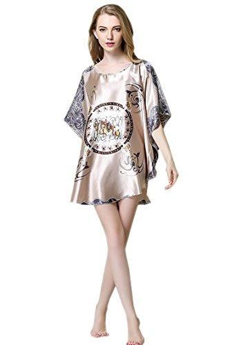 BigForest Femmes Batwing Sleeve Pullover Peignoir Satin Plus Size Pyjama robe short Grey
