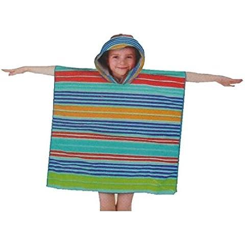 Niños y Adultos con capucha Poncho albornoz rizo. 100% algodón toalla de playa. Ideal para los niños, niñas, hombres y mujeres., Camper Bus, 3-10 Años