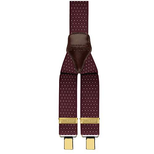 BRUCLE bretelle uomo elastiche regolabili con dorsale in cuoio, forma a Y, fissaggio a clip color oro (Pois bordeaux)