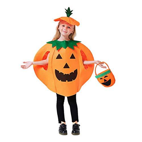 Kungfu Mall Halloween-Kostüm für Cosplay, Party, Kürbis-Kostüm mit Hut für Erwachsene und Kinder, Orange, S (Kürbis Kostüm Für Erwachsene)