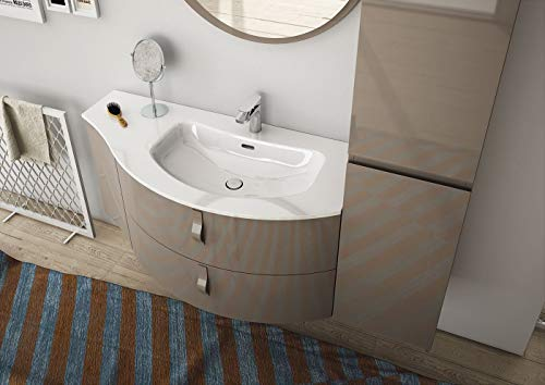 Dafnedesign.com - Mobile da Bagno sospeso con Colonna sospesa, Color:  Tortora Beige - 100% Made in Italy