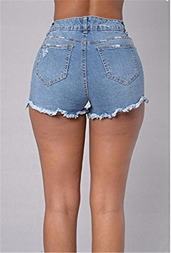 Bepo Frauen Hohe Taille Lace up Riss Hot Shorts Tassel Hot Pants Blue