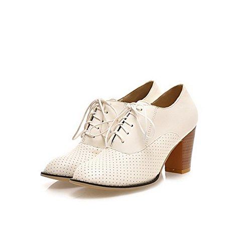 AgooLar Femme Matière Souple Lacet Rond à Talon Haut Couleur Unie Chaussures Légeres Blanc