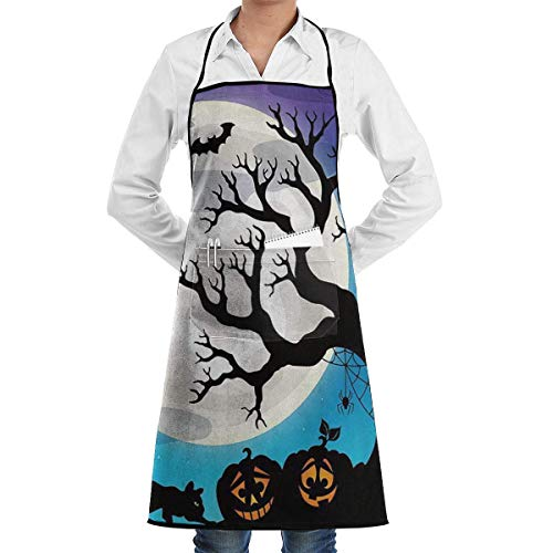 apnzll Halloween Party Apron, Unisex Kitchen Bib Apron with Adjustable Neck for Cooking Baking Gardening, Multicolor