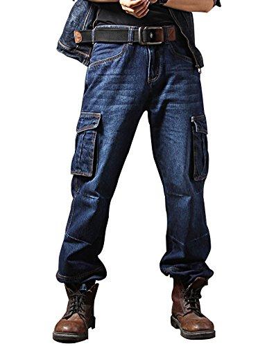 Idopy Casual Motorrad Workwear Multi Pockets Denim Biker Cargo Jeans Hosen Blau 34 -