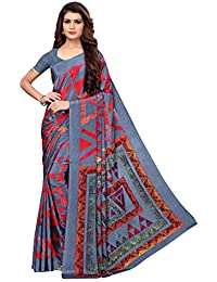 GoSriKi Crepe with Blouse Piece Saree (Aakruti-330-1_ Grey_ Free Size)