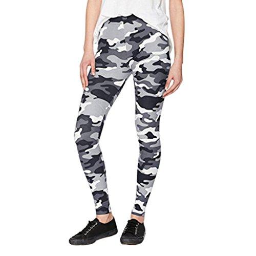 Pantalon de Sport ❤ Femmes leggings Fitness Yoga Pantalons athlétiques ❤ Pantalon élastique Fonctionnement de gymnastique white