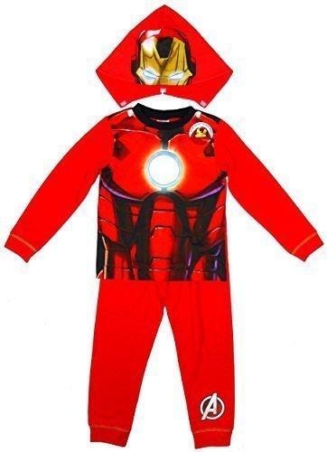 Jungen Marvel Avengers IRON MAN Neuheit Kostüm Schlafanzüge mit Kaputze größen von 2 bis 8 jahren - Rot - Rot, Jungen, Größe 98, Rot