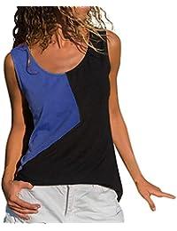 Costura Color De Contraste Empalme Irregular sin Mangas Camiseta Mujer Top,URIBAKY Mujer Camisas Mujer