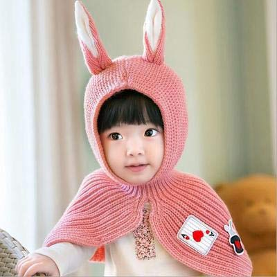2018 Hut für Kinder,Wollmützen Kinder Cartoon Hase Hut Wollmützen Mützen für Männer und Frauen Baby Wärme Siamese, rosa, elastisch