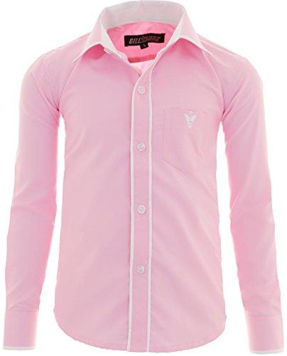 A3 Kinder Party Hemd freizeit Hemd bügelleicht Lange Arm mit 8 Farben Gr.86-158 (122/128, Rosa)