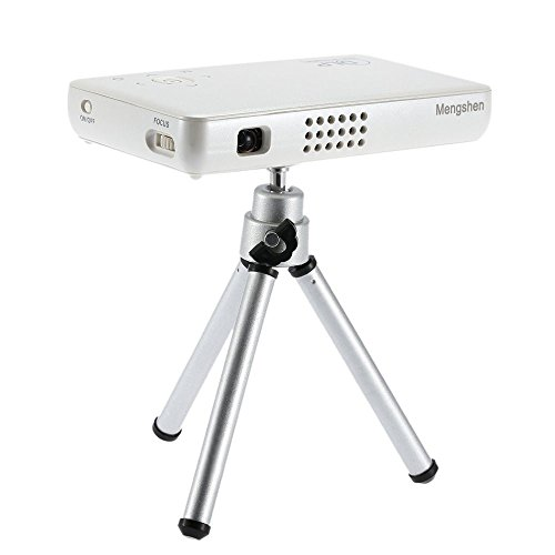 Mengshen® Mini Beamer DLP Wiederaufladbar Handy HD 1080P LED Projektor 30000 Stundens Portable Pocket Projectors Tragbare Rechargable USB VGA AV IR SD Home Cinema TV Video Camping MS-GP1SWhite