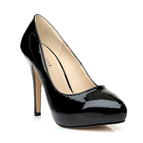 H251 Black Patent PU Leather Stiletto High Heel Concealed Platform Court Shoes