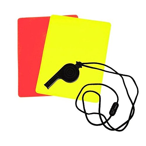 800305 Schiedsrichter Set 3tlg. rote Karte, gelbe Karte & Trillerpfeife, Fussball EM