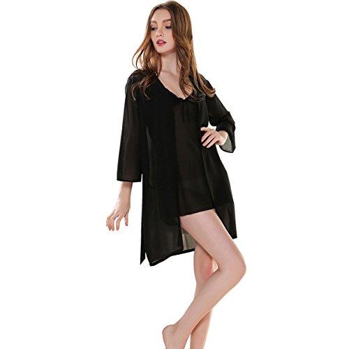 Glield Femmes chemise de nuit 2 Pieces Set Super-fin dentelle Lingerie Robe pyjama SY03 Black