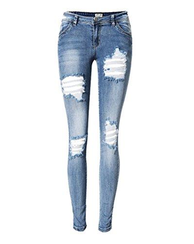 SaiDeng Donna Annata Jeans Pantaloni Sottile Fit Distressed Jeans Blu 42