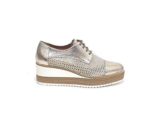 Janet sport donna, articolo 39755, scarpa lacci pelle laminata, platino nr 36 E7102