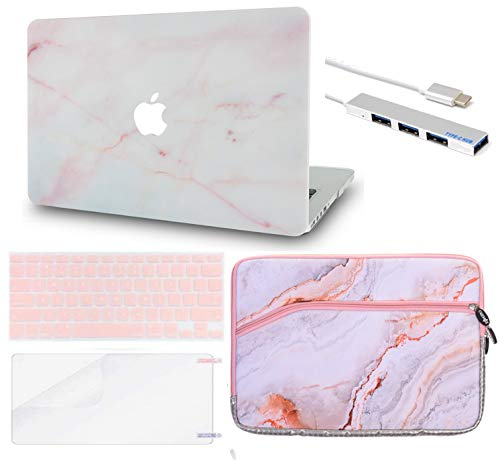 Luvcase MacBook Case mit Tastaturhülle Mehrfarbig Pink Marble with Sleeve, USB Hub, Keyboard Cover, Screen Protector A1278 Old Pro 13