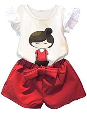 Koly_Cute Baby ragazza dei capretti manica corta Top T-shirt + shorts Pants Outfits set Casual