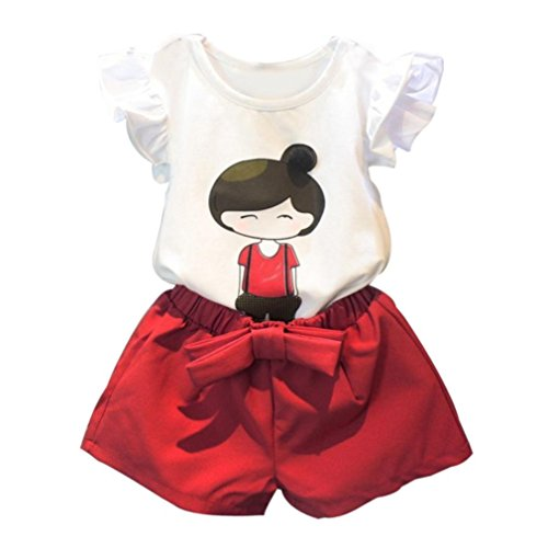 Koly_cute baby ragazza dei capretti manica corta top t-shirt + shorts pants outfits set casual (120, bianca)