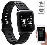 Newgen Medicals Uhr mit Blutdruckmesser: Fitness-Uhr mit Blutdruck- & Herzfrequenz-Anzeige, Bluetooth 4.0, IP68 (Blutdruckuhren)