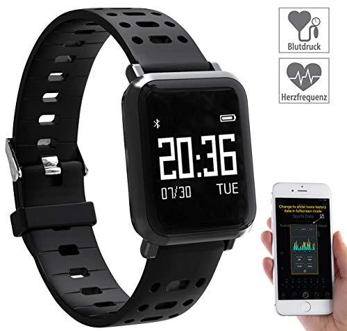 newgen medicals Blutdruckmessgerät Uhr: Fitness-Uhr mit Blutdruck- & Herzfrequenz-Anzeige, Bluetooth 4.0, IP68 (Fitness Uhr mit Blutdruckmessung)