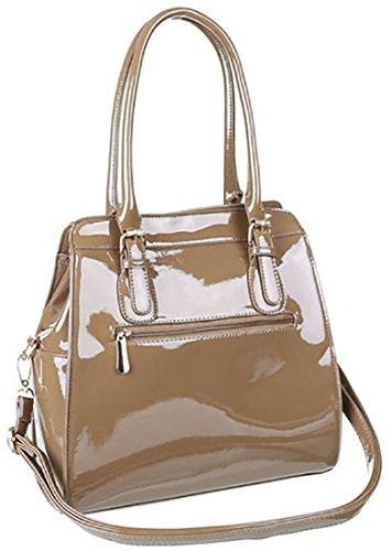 Borsa donna borsa manici borsa tracolla borsa grande borsa vernice, cm 30 x cm 31 beige
