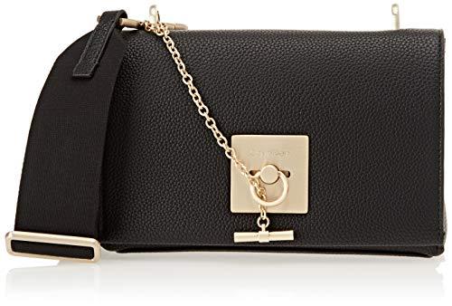 Calvin Klein Jeans Damen Ck Lock Medium Flap Crossbody Umhängetasche, Schwarz (Black), 8x16x22 cm