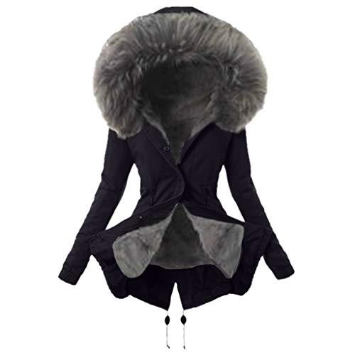 AMUSTER Damen Winterjacke,Wintermantel Lange Daunenjacke Jacke Outwear Winter Warm Trenchcoat mit Pelzkragen Parka Outwear Mäntel Reißverschluss Winterjacke