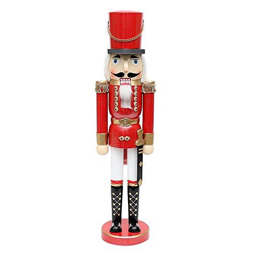 SIGRO Holzkunst Collection Holz Nussknacker Soldat rot metallic 13 x 11 x 50 cm XL