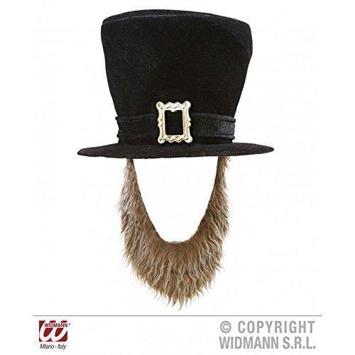 Lively Moments St. Patrick Leprechaun - Zylinder in schwarz mit Bart (Und Leprechaun Bart Hut)